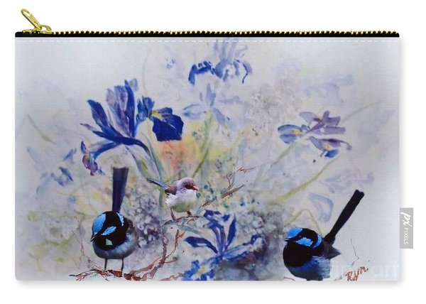 Carry-all Pouch featuring the painting Fairy Wrens In A Cottage Garden by Ryn Shell