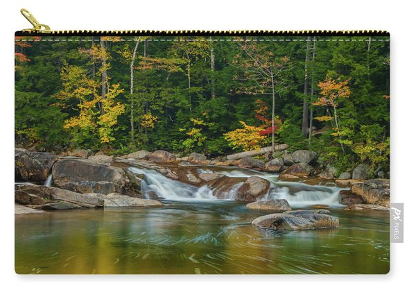 Carry-all Pouch featuring the photograph Fall Foliage In Autumn Along Swift River In New Hampshire by Ranjay Mitra