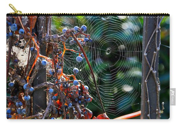 Fall Grapes With Spider Web Carry-all Pouch