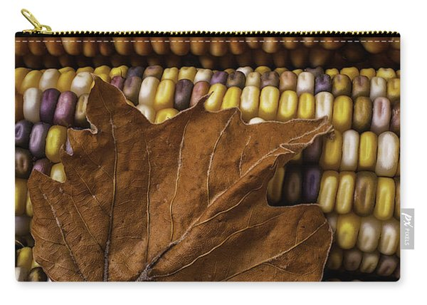 Fall Leaf And Indian Corn Carry-all Pouch