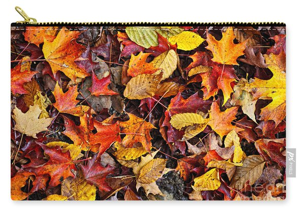 Fall Leaves On Forest Floor Carry-all Pouch