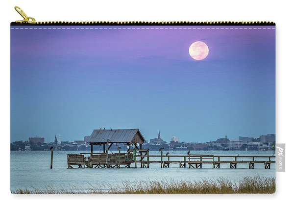 Carry-all Pouch featuring the photograph Fall Moon And King Tide - Charleston Sc by Donnie Whitaker