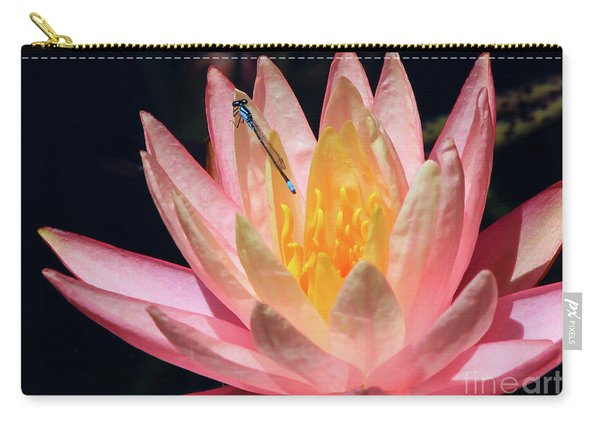Familiar Bluet Damselfly And Lotus 2 Carry-all Pouch