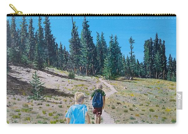 Carry-all Pouch featuring the painting Family Hike by Kevin Daly
