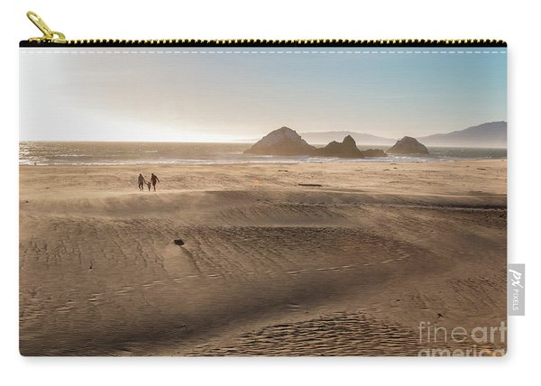 Family Walking On Sand Towards Ocean Carry-all Pouch