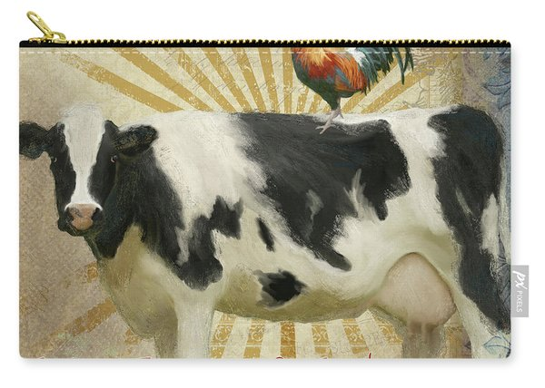 Farm Fresh Barnyard Animals Cow Rooster Typography Carry-all Pouch