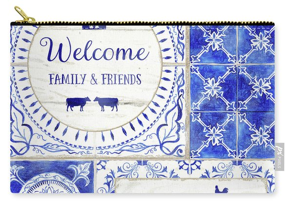 Farmhouse Blue And White Tile 1 - Welcome Family And Friends Carry-all Pouch