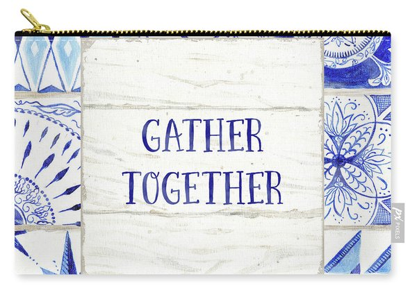 Farmhouse Blue And White Tile 2 -  Gather Together Carry-all Pouch