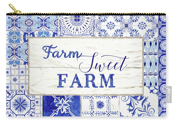 Farmhouse Blue And White Tile 5 - Farm Sweet Farm Carry-all Pouch