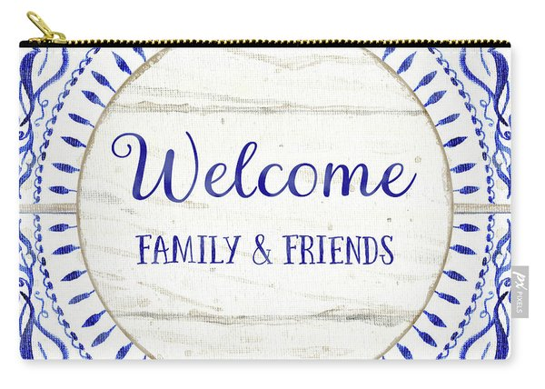 Farmhouse Blue And White Tile 6 - Welcome Family And Friends Carry-all Pouch