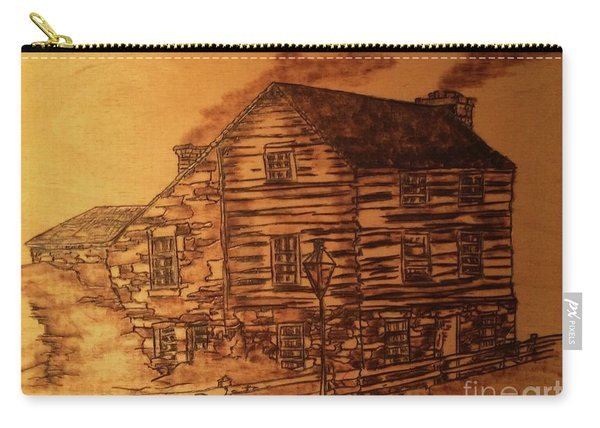 Carry-all Pouch featuring the pyrography Farmhouse by Denise Tomasura