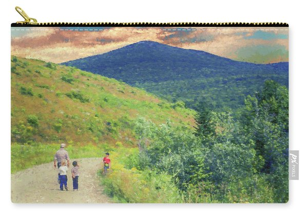 Father And Children Walking Together Carry-all Pouch