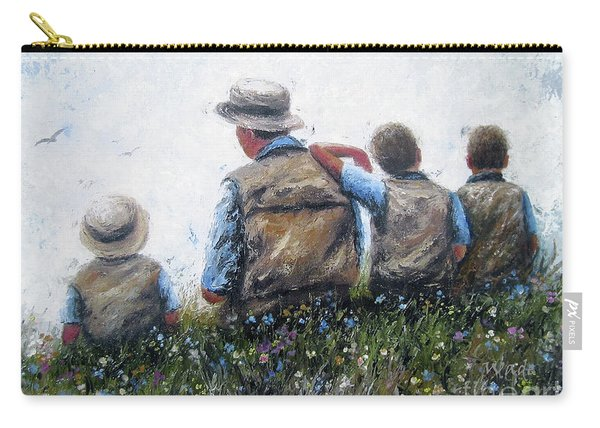 Father And Three Sons Talking Carry-all Pouch