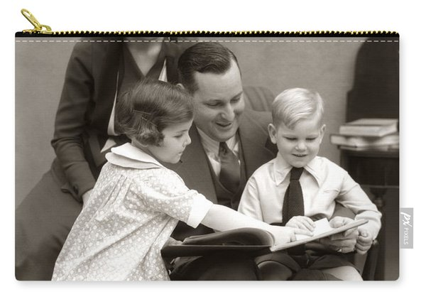 Father Reading To Children, C.1930s Carry-all Pouch