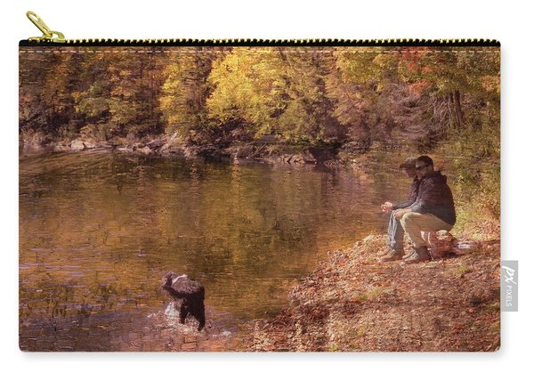 Father,son And Dog Carry-all Pouch