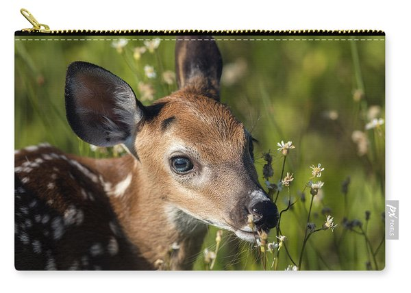 Fawn In Wildflowers Carry-all Pouch