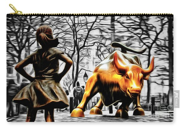 Fearless Girl And Wall Street Bull Statues 15 Carry-all Pouch