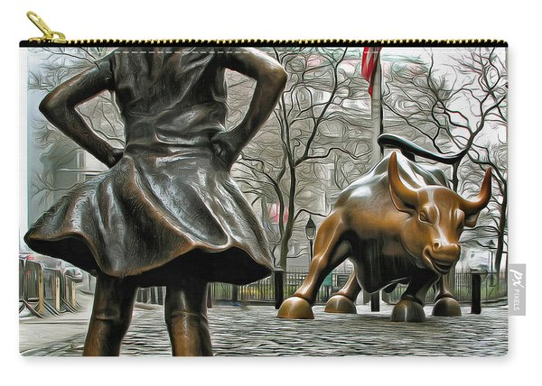 Fearless Girl And Wall Street Bull Statues 5 Carry-all Pouch
