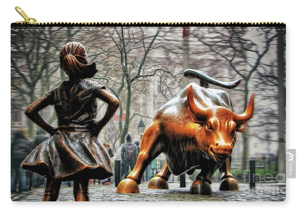 Fearless Girl And Wall Street Bull Statues Carry-all Pouch