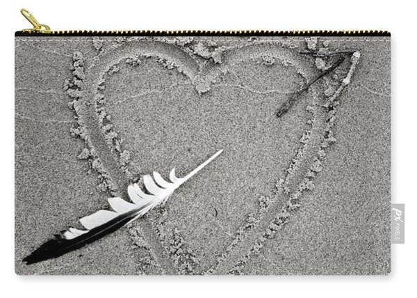 Feather Arrow Through Heart In The Sand Carry-all Pouch