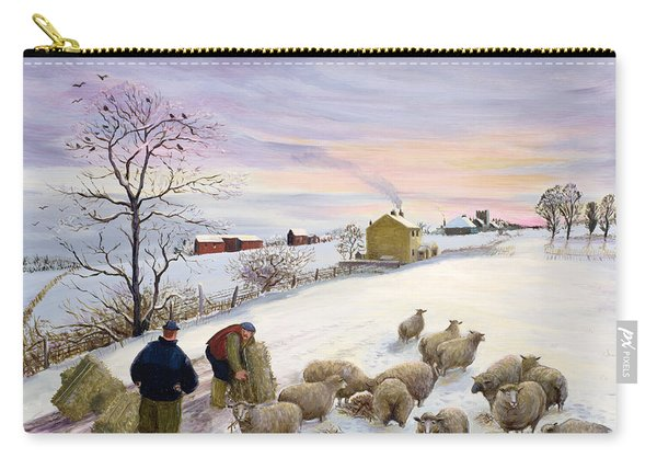 Feeding Sheep In Winter Carry-all Pouch