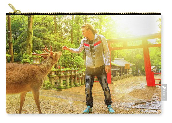 Feeding Wild Deer In Nara Carry-all Pouch