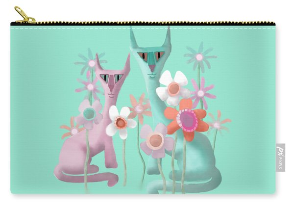 Felines In Flowers Carry-all Pouch