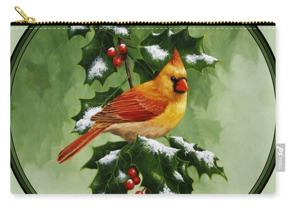 Female Cardinal And Holly Phone Case Carry-all Pouch