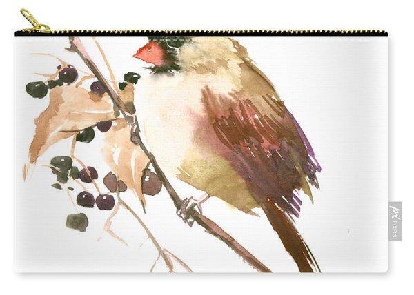 Female Cardinal Bird Carry-all Pouch