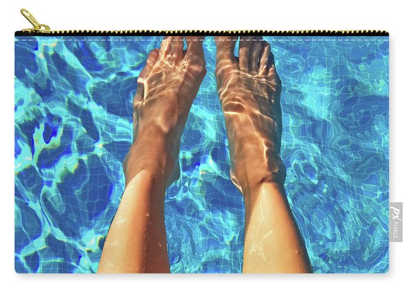 Female Feet In Blue Water Carry-all Pouch