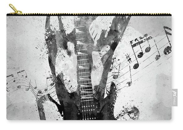Female Guitarist White And Black Carry-all Pouch