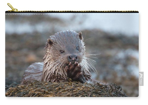 Female Otter Eating Carry-all Pouch