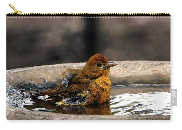 Female Summer Tanager In Bird Bath Carry-all Pouch