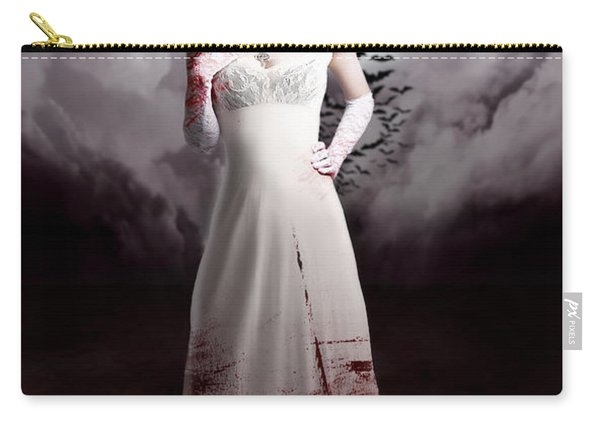 Female Vampire During Twilight Full Moon Horror Carry-all Pouch