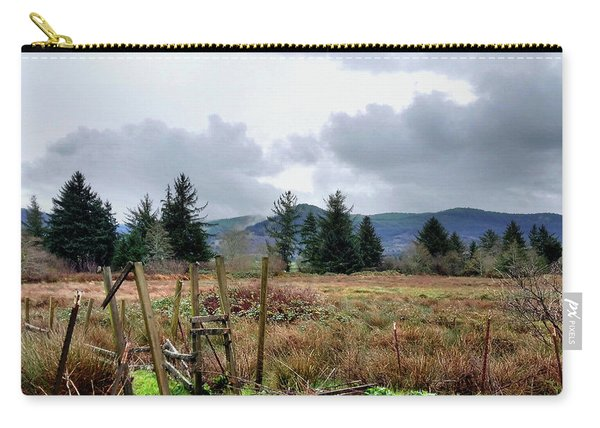 Field, Clouds, Distant Foggy Hills Carry-all Pouch