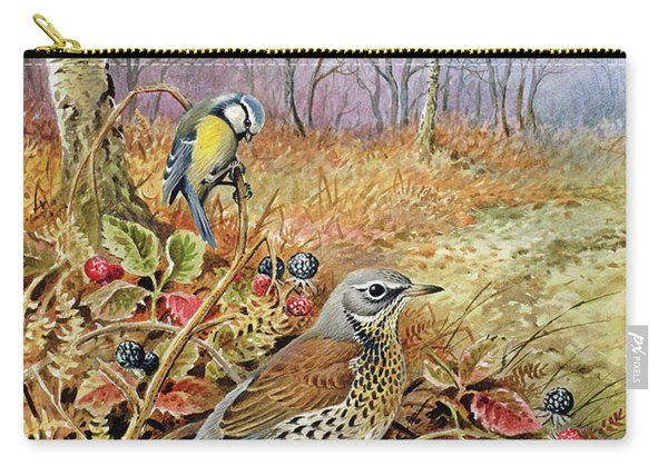 Fieldfare And Blue Tit Carry-all Pouch