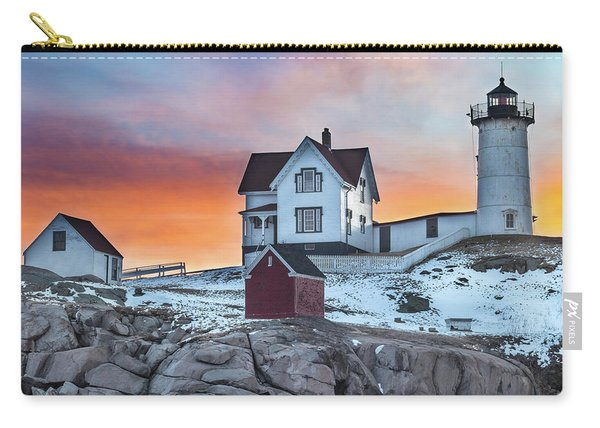 Fiery Sunrise At Cape Neddick Lighthouse Carry-all Pouch