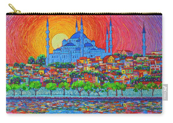 Fiery Sunset Over Blue Mosque Hagia Sophia In Istanbul Turkey Carry-all Pouch
