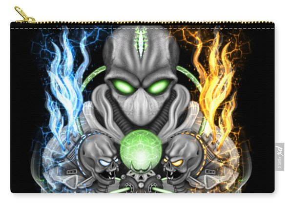 Carry-all Pouch featuring the painting Fire And Ice Alien Time Machine by Raphael Lopez