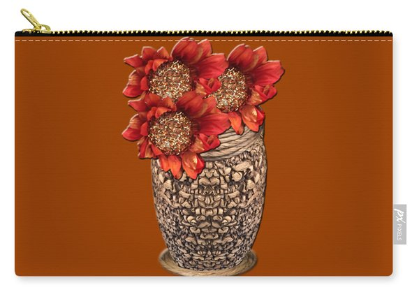 Fire Brick Flora Vase Carry-all Pouch