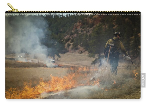 Carry-all Pouch featuring the photograph Firefighter Ignites The Pleasant Valley Prescribed Fire by Bill Gabbert
