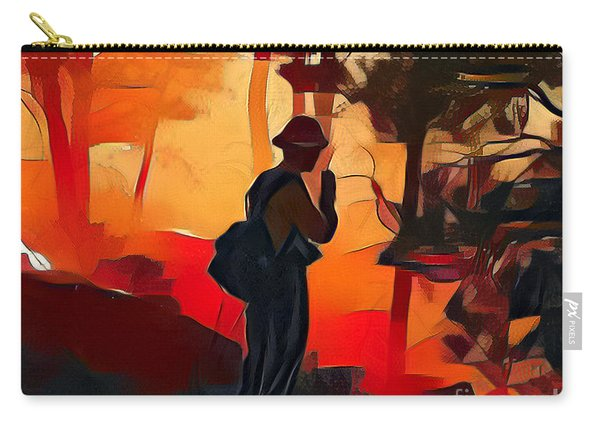 Carry-all Pouch featuring the photograph Firefighter On White Draw Fire by Bill Gabbert