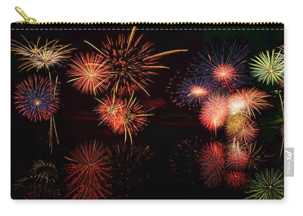 Fireworks Reflection In Water Panorama Carry-all Pouch