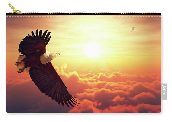 Fish Eagle Flying Above Clouds Carry-all Pouch
