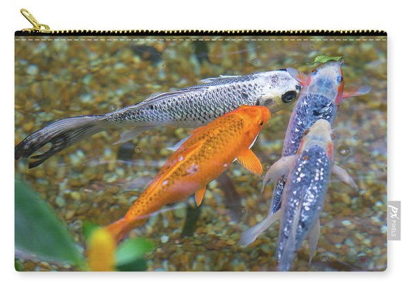 Carry-all Pouch featuring the photograph Fish Fighting For Food by Raphael Lopez