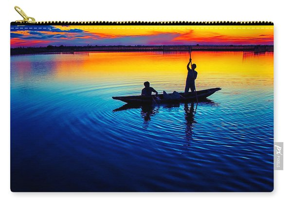 Fisherman Boat On Summer Sunset, Travel Photo Poster Carry-all Pouch