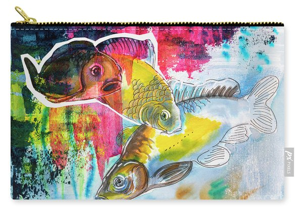 Fishes In Water, Original Painting Carry-all Pouch