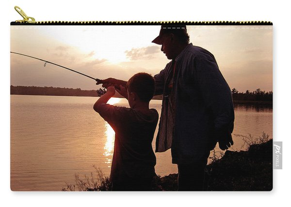 Fishing At Sunset Grandfather And Grandson Carry-all Pouch