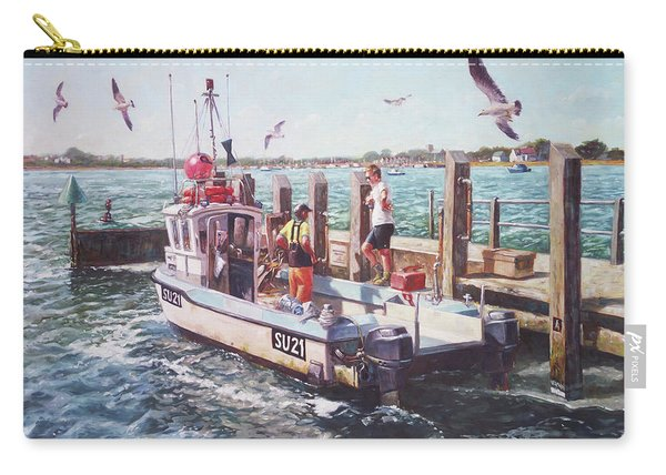 Carry-all Pouch featuring the painting Fishing Boat At Mudeford Quay by Martin Davey