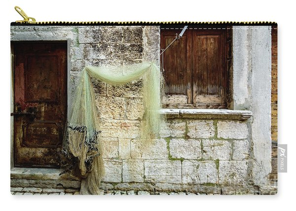 Fishing Net Hanging In The Streets Of Rovinj, Croatia Carry-all Pouch